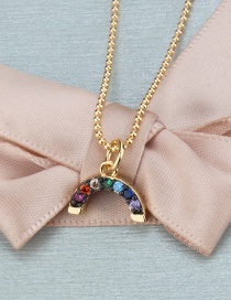 Fashion Gold-plated Color Zirconium Copper Electroplated Zircon Semicircular Necklace