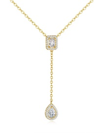Fashion 18k Copper-set Zircon Geometric Necklace