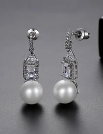 Fashion Platinum Pearl And Copper Zircon Stud Earrings