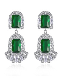 Fashion Green Copper-inlaid Zircon Crystal Square Earrings