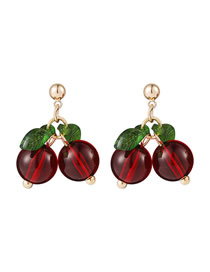 Fashion Red Cherry Crystal Alloy Contrast Color Earrings
