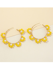 Fashion Yellow Rice Bead Flower Hand-woven Alloy C-shaped Earrings