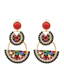 Fashion Color Watermelon Pomelo And Diamond Alloy Earrings