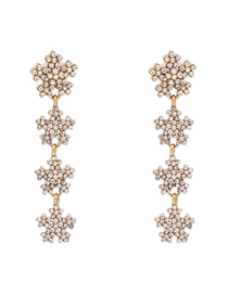 Fashion White Snowflake Diamond Alloy Long Earrings