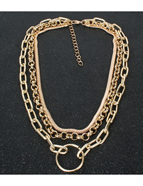 Fashion Golden Geometric Round Chain Multi-layer Necklace