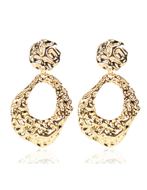 Fashion Golden Irregular Concave And Convex Geometric Hollow Earrings