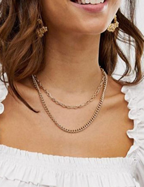 Fashion Golden Double-layer Aluminum Chain Solid Color Necklace