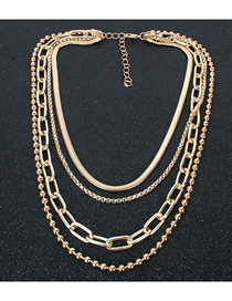 Fashion Golden Metal Multilayer Chain Round Bead Necklace