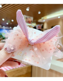 Fashion Pink Bowknot Lace Mesh Yarn Striped Children Hairpin