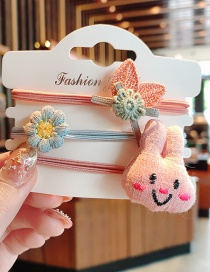 Fashion 3 Bunnies Cloth Hit Color Animal Smiley High Elastic Hair Rope