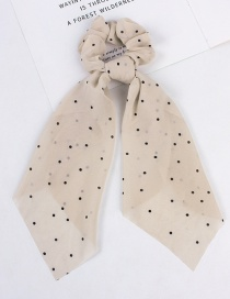 Fashion Small Streamer Beige Printed Silk Scarf Love Wave Dot Hair Rope
