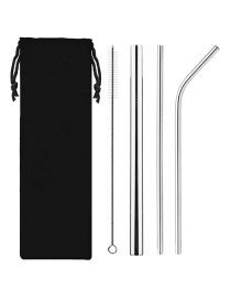 Fashion Silver Stainless Steel Titanium Plated Straw Set