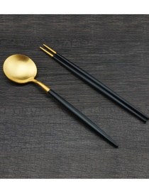 Fashion Black Gold Portuguese Stainless Steel Spoon Chopsticks Cutlery Set