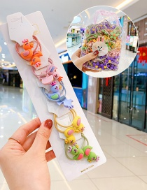 Fashion 10 Ducklings In Bags Candy Animal Fruit Flower Contrast Elastic Hair Rope