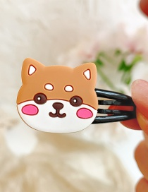 Fashion Shiba Inu Flower Animal Hit Color Alloy Rubber Children Hairpin