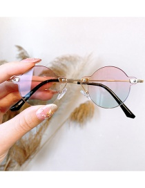 Fashion Gold Frame On Pink And Green Anti-ultraviolet Alloy Round Children S Sunglasses