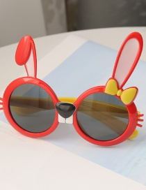 Fashion Red Children S Sunglasses With Anti-ultraviolet Resin Rabbit Ears