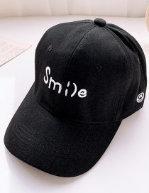 Fashion Black 2 Years Old To 12 Years Old Adjustable Duck Tongue Baseball Cap With Embroidered Shade (48cm-59cm)