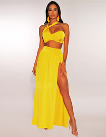 Fashion Yellow Hanging Neck Pleated High Waist Split Swimsuit Beach Skirt Two-piece Suit