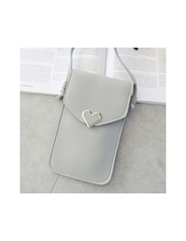 Fashion Light Grey Caring Metal Transparent Touch Screen Multifunctional Mobile Phone Bag