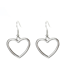 Fashion Silver Alloy Love Hollow Earrings