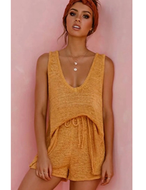 Fashion Brown Knitted V-neck Sleeveless Top Shorts Suit