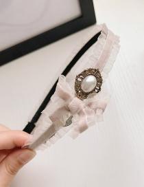 Fashion Light Pink Lace Pearl And Diamond Bow Headband