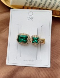 Fashion Dark Green / Mini Rhinestone Clip Diamond-shaped Pearl-cut Crystal Geometric Alloy Hairpin
