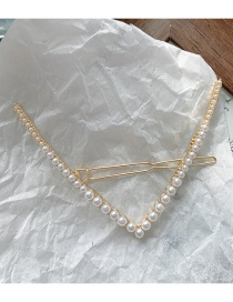Fashion Imitation Pearl V Clip V-shaped Rhinestone Pearl Alloy Hairpin
