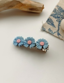 Fashion Blue Small Daisy Resin Alloy Contrast Duckbill Clip