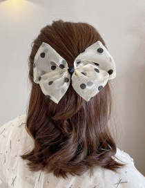 Fashion Beige Double-layer Bowknot Mesh Yarn Hair Clip