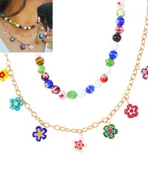 Fashion Color Flower Resin Bead Alloy Multilayer Necklace