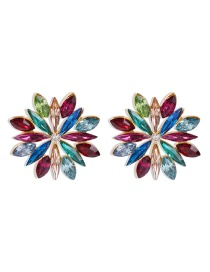 Fashion Color Alloy Earrings With Glass Diamonds And Flowers