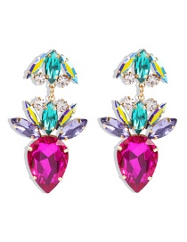 Fashion Rose Red Carrot Alloy Earrings With Diamonds