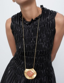 Fashion Golden Stone-shaped Alloy Necklace