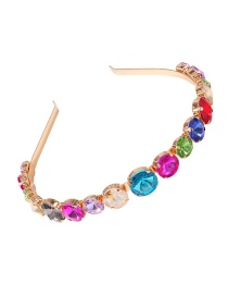 Fashion Round Colored Diamond Headband With Glass Bead Alloy