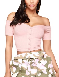 Fashion Pink One-shoulder Knitting Thread Single-breasted T-shirt