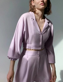 Fashion Purple Single-breasted Short Shirt With Drape And Deep V Neck