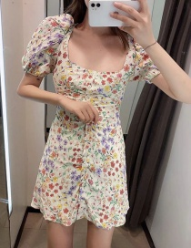 Fashion Color Flower-printed Square-neck Single-breasted Dress