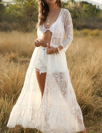 Fashion White Lace Openwork Cardigan Smock