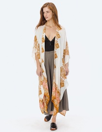 Fashion Yellow Printed Slit Wide Loose Shirt Smock