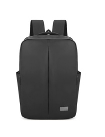 Fashion Gray Solid Color Polyester Metal Standard Backpack