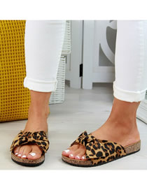 Fashion Leopard Print Thick Bottom Fish Mouth Flat Bottom Bow Sandals And Slippers