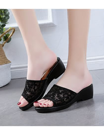 Fashion Black Wedge Mesh Yarn Rhinestone Fish Mouth Sandals And Slippers