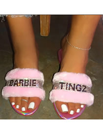 Fashion Pink Flat Rhinestone Slippers With Letters And Rhinestones