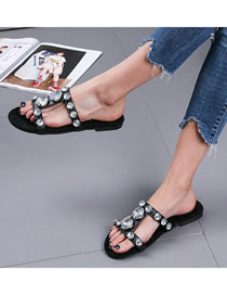 Fashion Black Plus Size Flat Bottom Rhinestone Open-toe Sandals And Slippers