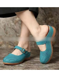 Fashion Blue Slip-resistant Mesh Hollow Ventilated Wedge Heel Slippers