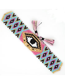 Fashion Pink Eyes Small Flower Beads Hand-woven Eye Tassel Ribbon Bracelet