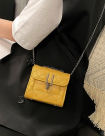 Fashion Yellow Chain Quilted Embroidery Shoulder Bag