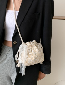 Fashion White Lace Braided Drawstring Diagonal Shoulder Bag